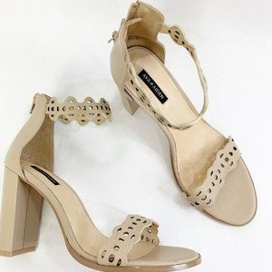 Ava & Aiden Nude Laser Leather Ankle Strap 8.5 NEW